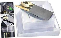 Square Plastic Plates with Gold Plastic Silverware, Plastic