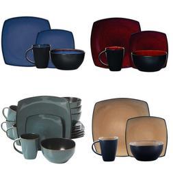 Square Reactive Glaze Dinnerware Set 16 Piece Plates Bowls M