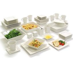 Square Serving Service 45-Piece Dinnerware Set Dishes Plates