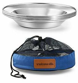 Stainless Steel Camping Plate Set Portable Dinnerware BPA Fr