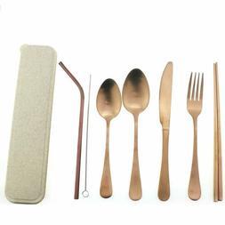 Stainless Steel Flatware Rose Gold Tableware Dinnerware Set,