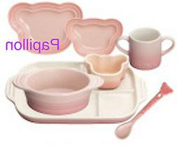 Le Creuset stoneware Baby Tableware Set Milky Pink with Trac