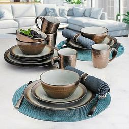 Mikasa Stoneware Dinnerware Set Copper Glaze Finish 16 Piece