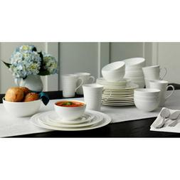 Mikasa Swirl White 36-piece Bone China Dinnerware Set