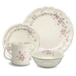 Pfaltzgraff Tea Rose 48 Piece Dinnerware Set, Service for 12