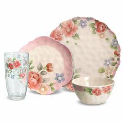 Tea Rose Melamine Outdoor Dinnerware Set