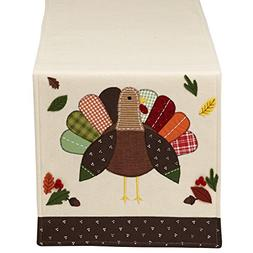 """DII 14x64"""" Polyester Table Runner, Embroidered Turkey - Perf"""
