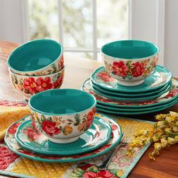 The Pioneer Woman Vintage Floral 12-Piece Dinnerware Set, Te