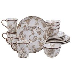Certified International Toile Rooster  16 pc Dinnerware Set,