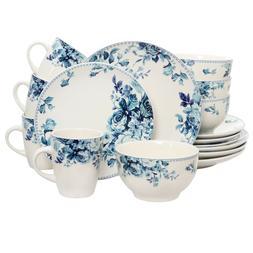 Traditional Blue Rose 16 Piece Dinnerware Set - Stoneware -