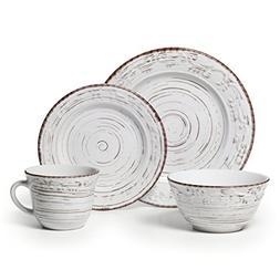 Pfaltzgraff 16-Piece Trellis Dinnerware Set Stoneware White