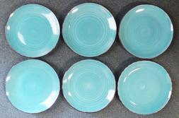 Royal Norfolk Turquoise Swirl Stoneware Dinnerware Set 16- P
