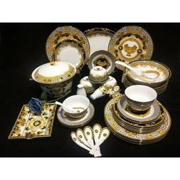 Versace style 44 Piece Bone China Dinnerware Set