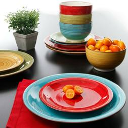 Vibrant Multi-Colored Festival 12-Piece Dinner Bowls Plates