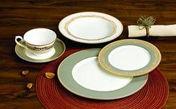 "Royalty Porcelain ""Bella"" 20-Piece White and Gold Dinnerware"