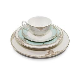 "Royalty Porcelain ""Gloria"" 5-Piece White & Heaven Blue Dinne"